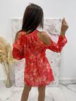 Sukienka z odkrytymi ramionami w print różowych liści Marika 51 - photo #4