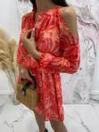 Sukienka z odkrytymi ramionami w print różowych liści Marika 51 - photo #5