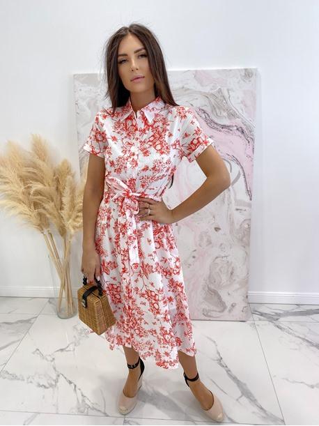 Sukienka maxi biała w czerwone wzory Redlis 09