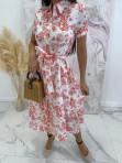 Sukienka maxi biała w czerwone wzory Redlis 09 - photo #2