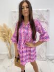 Sukienka w łatki z dekoltem V różowa we wzory Pongo 02 - photo #1