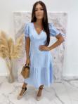 Sukienka Midi w kratkę niebiesko-biała Friser 09 - photo #0