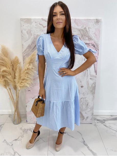 Sukienka Midi w kratkę niebiesko-biała Friser 09