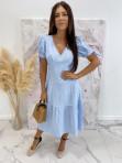Sukienka Midi w kratkę niebiesko-biała Friser 09 - photo #1