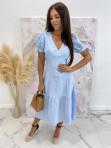 Sukienka Midi w kratkę niebiesko-biała Friser 09 - photo #4
