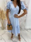 Sukienka Midi w kratkę niebiesko-biała Friser 09 - photo #2