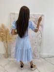 Sukienka Midi w kratkę niebiesko-biała Friser 09 - photo #3
