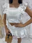 Komplet bluzka i spodenki koronkowy biały Lazura 89 - photo #5