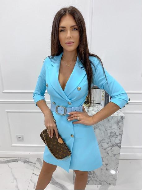 Sukienka a'la marynarka z paskiem niebieska Evelyn 54