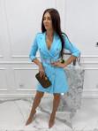 Sukienka a'la marynarka z paskiem niebieska Evelyn 54 - photo #2