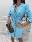 Sukienka a'la marynarka z paskiem niebieska Evelyn 54 - photo #4