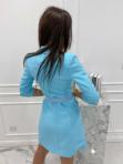 Sukienka a'la marynarka z paskiem niebieska Evelyn 54 - photo #5