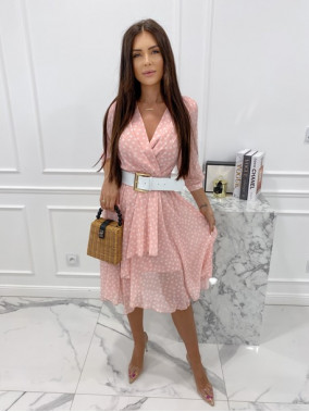 Sukienka midi w grochy 3/4 rękaw różowa Anna 54