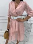 Sukienka midi w grochy 3/4 rękaw różowa Anna 54 - photo #3