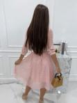 Sukienka midi w grochy 3/4 rękaw różowa Anna 54 - photo #4