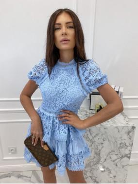 Sukienka koronkowa na krótki rękaw niebieska Werka 09
