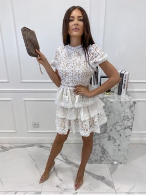 Sukienka koronkowa na krótki rękaw biała Werka 09