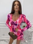 Sukienka w obrazki na długi rękaw  różowa  Oktawia 25 - photo #0