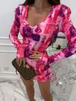Sukienka w obrazki na długi rękaw  różowa  Oktawia 25 - photo #3