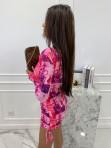 Sukienka w obrazki na długi rękaw  różowa  Oktawia 25 - photo #4