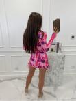 Sukienka w obrazki na długi rękaw  różowa  Oktawia 25 - photo #6