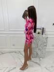 Sukienka w obrazki na długi rękaw  różowa  Oktawia 25 - photo #5