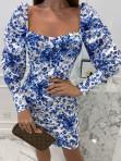 Sukienka mini marszczone rękawy w niebieskie kwiaty biała Kamila 114 - photo #3