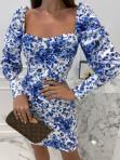 Sukienka mini marszczone rękawy w niebieskie kwiaty biała Kamila 114 - photo #4