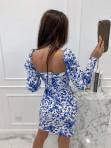 Sukienka mini marszczone rękawy w niebieskie kwiaty biała Kamila 114 - photo #5