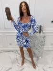 Sukienka mini marszczone rękawy w niebieskie kwiaty biała Kamila 114 - photo #1