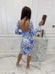 Sukienka mini we wzory z odkrytymi plecami biała w niebieskie kwiaty Mateos 114 - photo #4