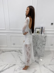 Sukienka maxi ażurowa biała Abi 119 - photo #2