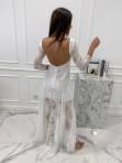 Sukienka maxi ażurowa biała Abi 119 - photo #3