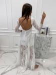 Sukienka maxi ażurowa biała Abi 119 - photo #4