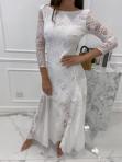 Sukienka maxi ażurowa biała Abi 119 - photo #5