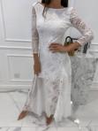 Sukienka maxi ażurowa biała Abi 119 - photo #6