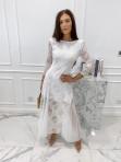 Sukienka maxi ażurowa biała Abi 119 - photo #0