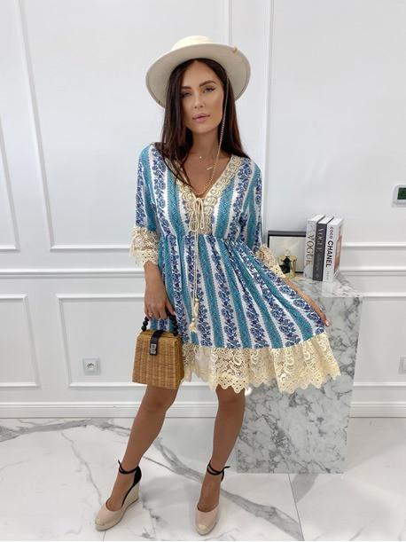 Sukienka boho z wiązniem przy dekolcie turkusowa Eugenia 02