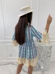 Sukienka boho z wiązniem przy dekolcie turkusowa Eugenia 02 - photo #4