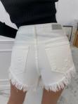 Spodenki jeansowe z przetarciami białe Dekar 126 - photo #6
