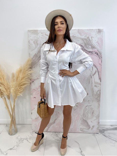 Sukienka al'a koszula z marszczeniem biała Miszka 48