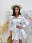 Sukienka al'a koszula z marszczeniem biała Miszka 48 - photo #1
