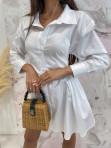 Sukienka al'a koszula z marszczeniem biała Miszka 48 - photo #3