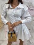 Sukienka al'a koszula z marszczeniem biała Miszka 48 - photo #4