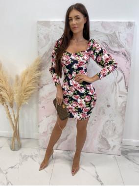 Sukienka mini marszczone rękawy w różowe kwiaty czarna Kamila 114