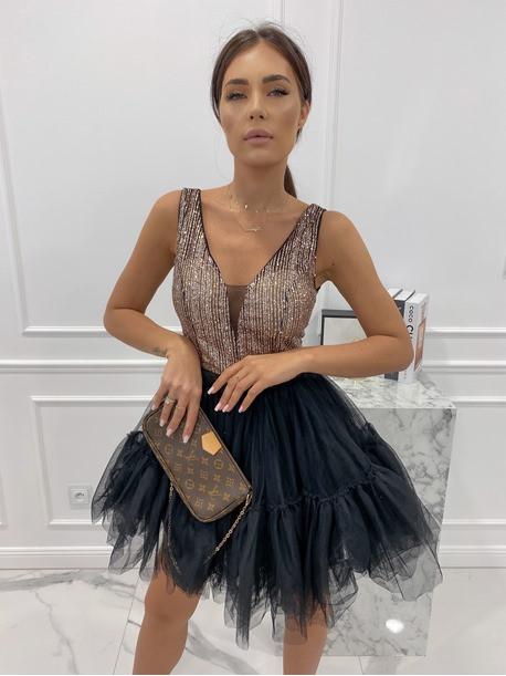 Sukienka mini tiul+cekiny czarno-złota Dalicja 09