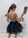 Sukienka mini tiul+cekiny czarno-złota Dalicja 09 - photo #4