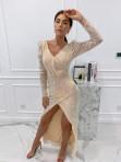 Sukienka cekinowa na długi rękaw maxi złota Paulina 09 - photo #0