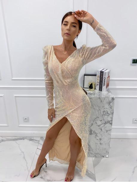 Sukienka cekinowa na długi rękaw maxi złota Paulina 09