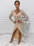 Sukienka cekinowa na długi rękaw maxi złota Paulina 09 - photo #1